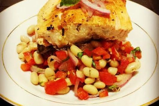 Seared  Dijon Salmon with Pickled Onions & White Beans