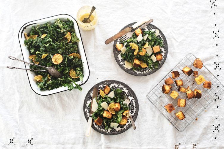 kale & lemon caesar salad with cornbread croutons