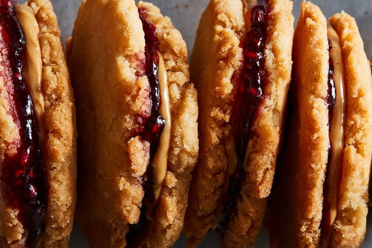 Coconut PB&J Sandwich Cookies