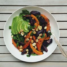 Oriental Purple Potato Salad with Baked Pumpkin + Pomegranate Vinaigrette