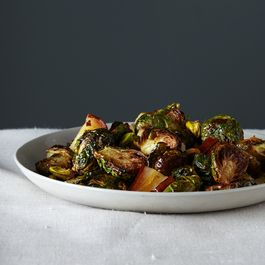 Roasted Brussels Sprouts with Pears and Pistachios