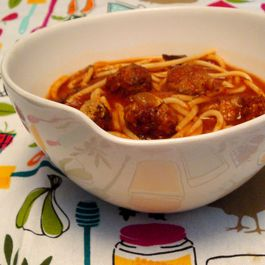 spaghetti and meatball soup (with roasted canned tomatoes)