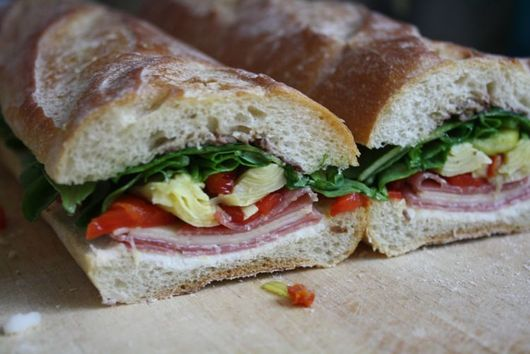 Salami, Pepperoncini, and Chevre Sandwich