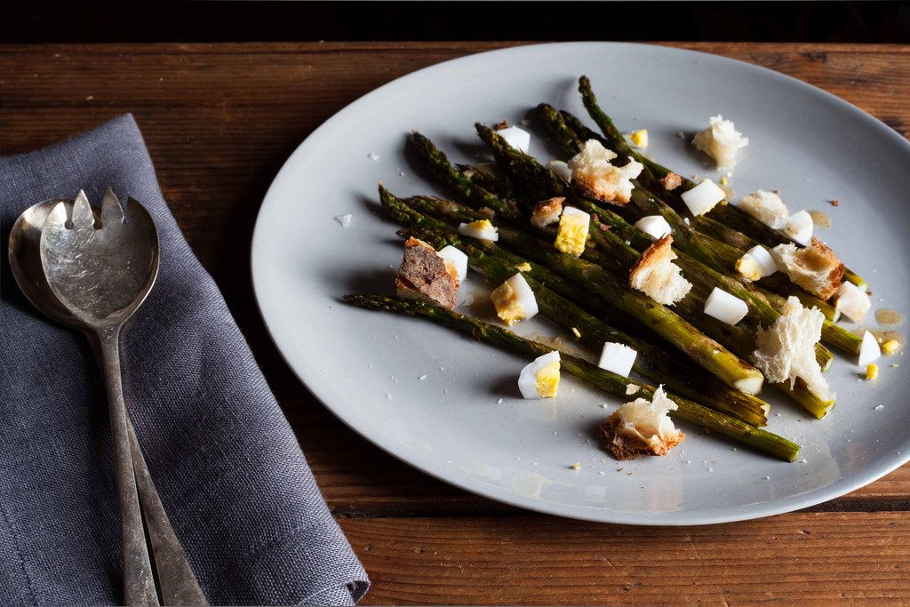 Roasted Asparagus with Chopped Egg and Torn Bread from Food52