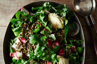 French Lentil and Arugula Salad with Herbed Cashew Cheese Recipe on ...