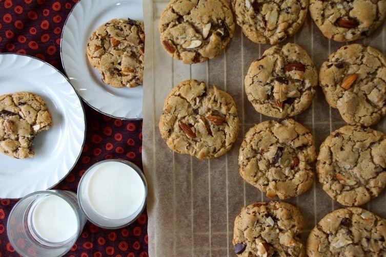 Almond Butter, Dark Chocolate & Coconut Cookies