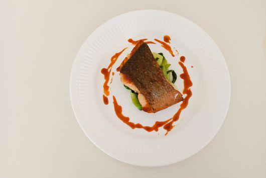 Crispy Skin Salmon with Bok Choy and Gochujang Sauce