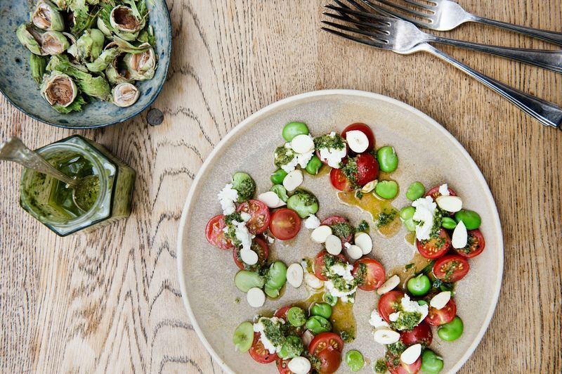 Rosie Birkett's Tomatoes with Ricotta, Hazelnuts, and Salsa Verde
