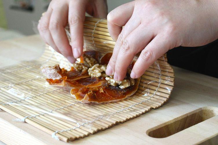Korean persimmon-walnut roulades