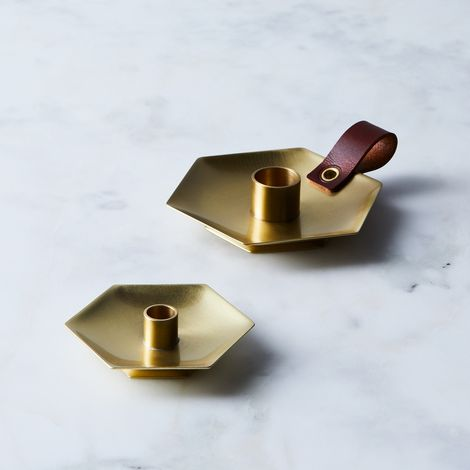 Honeycomb Brass Candlestick Holder