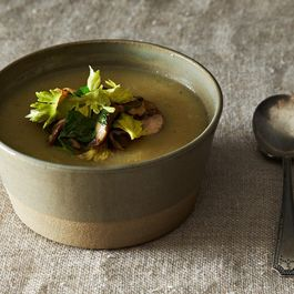 Celeriac and Potato Soup with Mushroom, Walnut, and Celery Leaf Salad