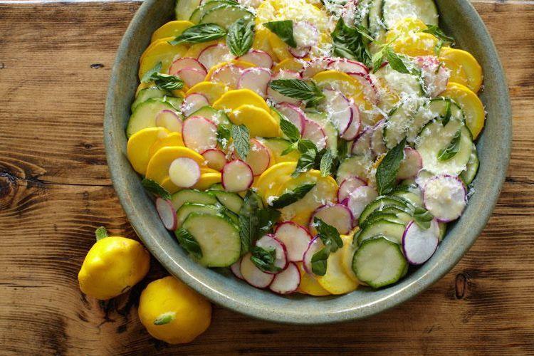 Raw Squash Salad with Radishes, Manchego, and Lemon Vinaigrette
