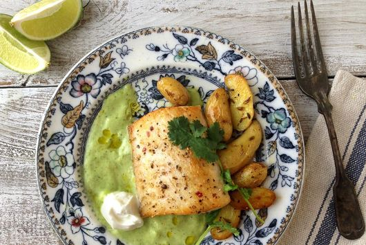 Pan Seared Fish with Avocado Cucumber Sauce and Fingerling Potatoes