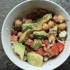 Garbanzo Bean Salad with Tomato, Avocado, Blue Cheese and Balsamic