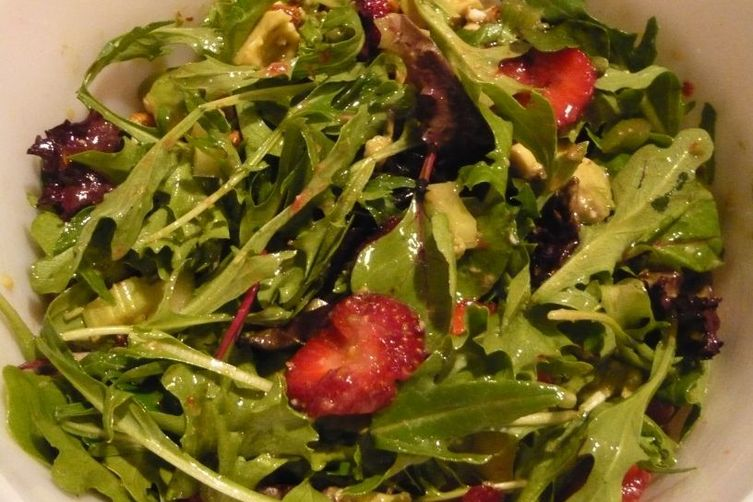 ... Spring Mix, Strawberry, Avocado Salad with Honey Double Lime Dressing