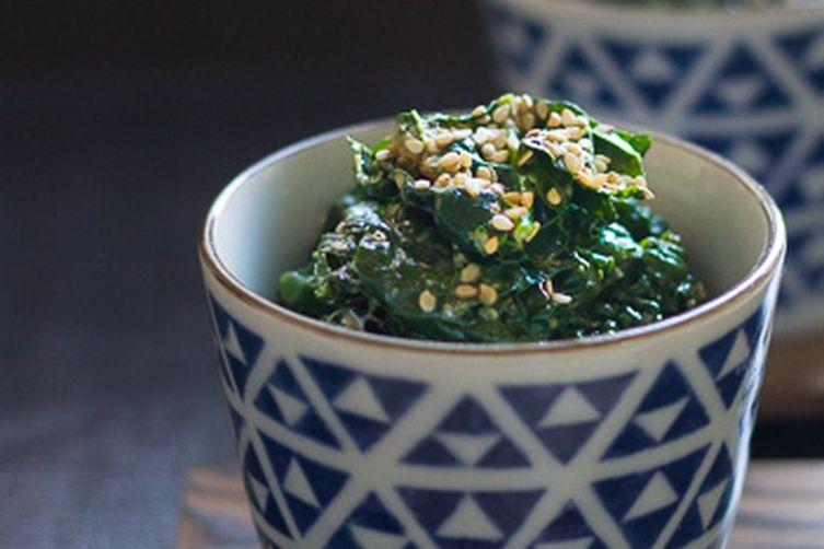 Goma-ae: Kale with sesame sauce