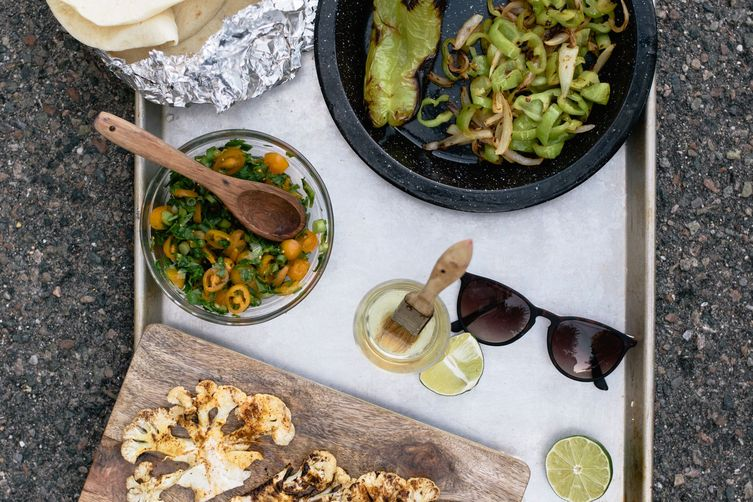 cauliflower fajitas with summer pico