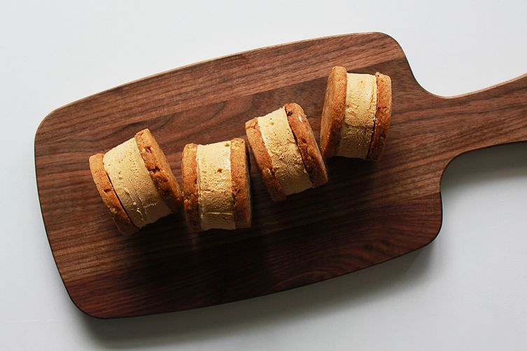 Espresso pecan shortbread ice cream sandwich