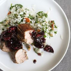 Seared Pork Tenderloin with Skillet Cherry Mostarda + Mint Rice Salad
