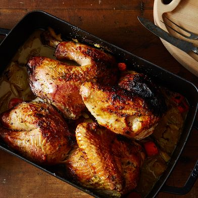 Spatchcocked + Braise-Roasted Herb Butter Turkey