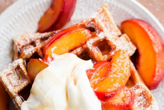Waffles with Peaches and Maple Marscapone