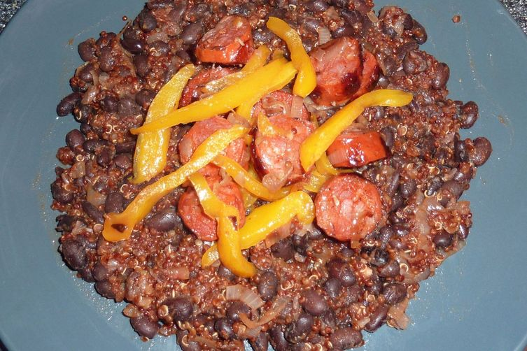 Black Bean, Quinoa and Chorizo skillet