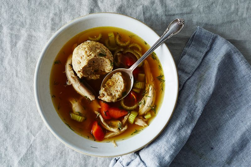 A well-cooked matzo ball, with air pockets even in the very center.
