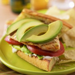 GRILLED BUFFALO CHICKEN AND AVOCADO SANDWICHES