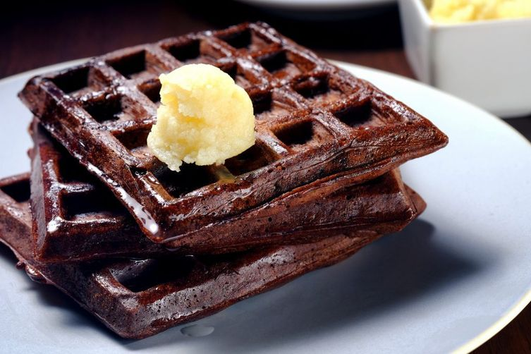 Dark Chocolate Waffles with Coconut-Maple Butter