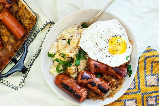 Sausage, Sauerkraut, and Spicy Mustard Potato Bowl