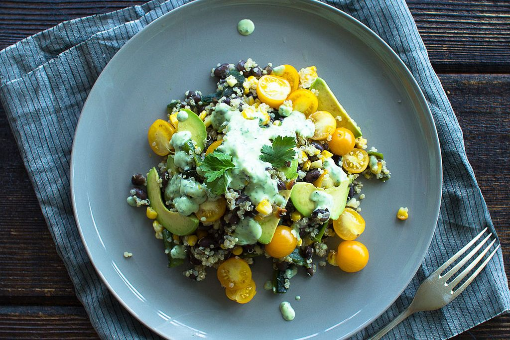 Grilled Corn, Black Beans and Quinoa with a Cilantro Lime Dressing
