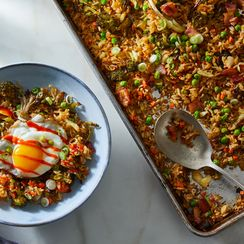 Sheet-Pan Crispy Rice With Bacon Lets Your Oven Do *Allll* the Work For You