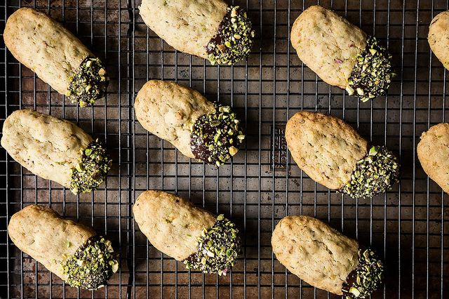 Chocolate-Dunked Pistachio Shortbread