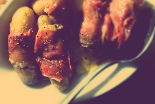 Olive Oil Steam Fried Fingerlings Wrapped in Prosciutto