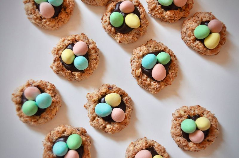 Coco-Almond Thumbprints with Chocolate Filling (+ Cadbury mini eggs = Easter nests!)