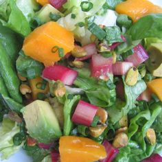 Roasted Rhubarb and Mango Salad