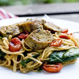 C93c228c 9296 4b1b b257 560a499482d5  lemony dinner party pasta slow roasted tomatoes spinach chicken sausage
