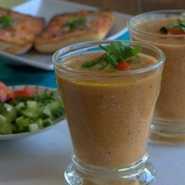 Gazpacho with Anchovy-Tomato Toasts
