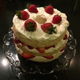Angel Food Cake with Strawberries and Whipped Cream