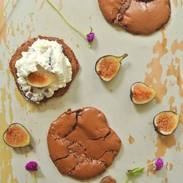Cocoa Meringue Cookies with Fig + Nutmeg Whipped Cream