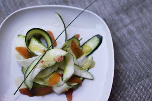 Raw Zucchini and Bottarga with Lemon and Daikon Dressing