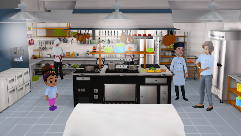 A cooking app for kids so fun youll want to use it yourself issa talks to chef pierre and her mom in the restaurant kitchen that serves as the solutioingenieria Gallery