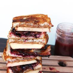 Grilled PB&J with bacon, apple, and pomegranate