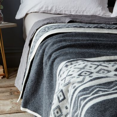 Charcoal & Cream Reversible Fair Isle Wool Blanket