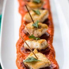 Barramundi Bites with  Romesco Sauce and Chorizo