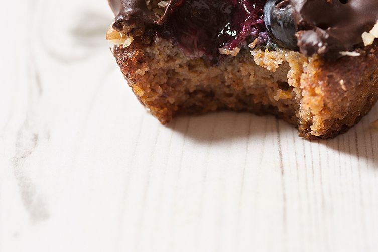 Blueberry pumpkin muffins with melted chocolate