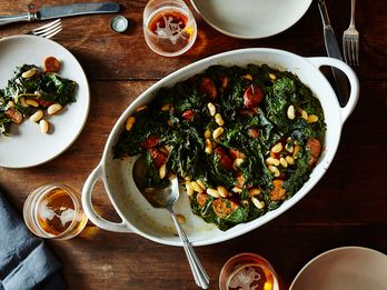 A Bed of Chard and Beans, with Some Coins of Sausage Snoring Inside