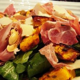 Roasted pumpkin, Serrano ham & Manchego cheese autumn salad
