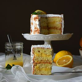 Lemon chiffon cake with lemon curd filling and toasted meringue frosting