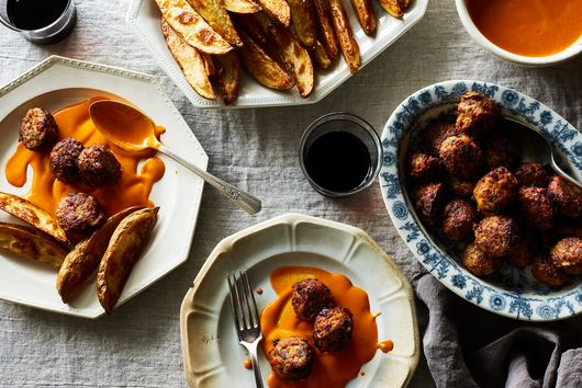 Piri Piri Chicken Meatballs with Crispy Potatoes